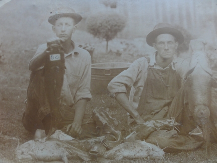 Fieldon Blevins (on the right) with large catfish, 012713